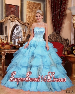 Baby Blue Sweet Sixteen Dresses,Baby Blue Dress for Sweet 16 Party