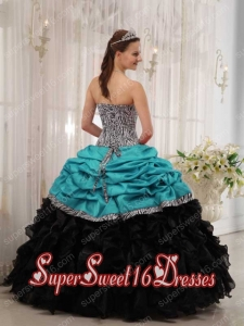 Popular Turquoise and Black Ball Gown Sweetheart Sweet 16 Dresses ...