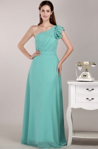 Turquoise Column / Sheath One Shoulder Floor-length Chiffon Ruch Sweet 16 Dama Dresses