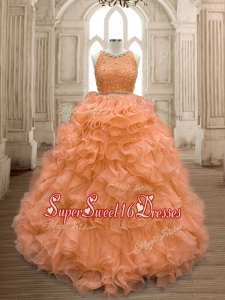 See Through Scoop Beaded and Ruffles Quinceanera Dress in Orange