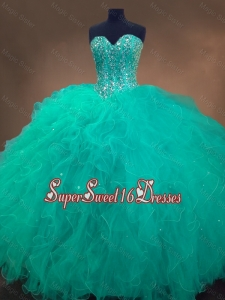 Cheap Sweetheart Ball Gown Custom Made Sweet 16 Dresses in Turquoise