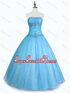 Simple Strapless Beaded Custom Made Sweet 16 Dresses with Floor Length