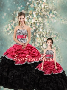 2015 Fall Perfect Strapless Zebra Macthing Sister Dresses in Multi Color
