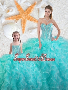 Beautiful Aqua Blue Macthing Sister Dresses with Beading and Ruffles