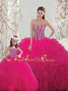 Classical Ball Gown Beaded and Ruffles Macthing Sister Dresses in Hot Pink