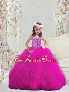 Modern Ball Gown Fuchsia Mini Quinceanera Dresses with Beading and Ruffles