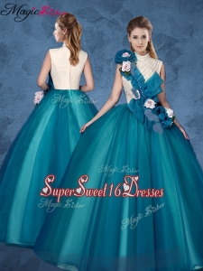 Cheap Hand Made Flowers Sweet 16 Dresses with High Neck