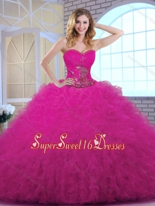 Classical 2016 Ball Gown Sweetheart Quinceanera Dresses in Fuchsia
