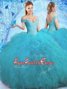 Cheap Beaded Off the Shoulder Teal Quinceanera Dress in Tulle