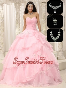 Exquisite Beading and Ruffles Sweet 16 Dresses in Baby Pink