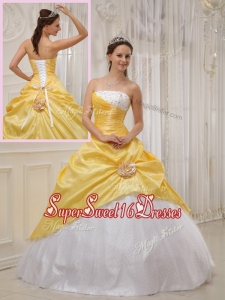 Perfect Best Selling Yellow Ball Gown Strapless Quinceanera Dresses