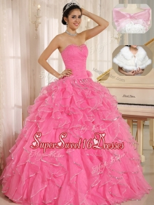 Popular Ruffles and Beading Quinceanera Dresses in Rose Pink