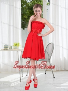 Wonderful Ruching Strapless Bowknot Dama Dress in Red