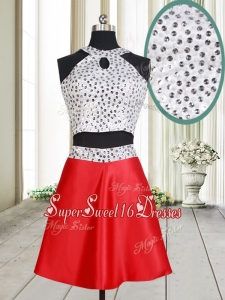 Discount Two Piece Halter Top Red and White Short Dama Dress with Beaded Bodice