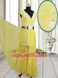 Popular Beaded and Belted V Neck Chiffon Yellow Dama Dress with Cap Sleeves