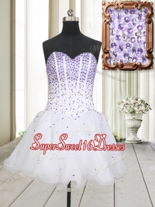 Low Price Visible Boning Beaded Bodice White Dama Dress in Organza