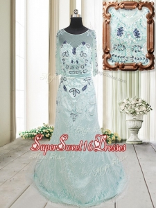 Top Seller See Through Scoop Beaded and Laced Apple Green Dama Dress with Brush Train