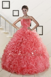 2015 New Arrival Watermelon Red Sweet 15 Dress with Ruffles