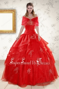 New Style Strapless Red Quinceanera Dresses with Appliques