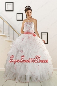 Sweetheart 2015 Elegant Quinceanera Dresses with Appliques and Belt