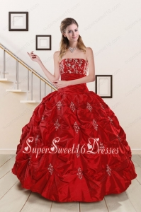 Cheap Appiques 2015 Strapless Quinceanera Dresses in Red