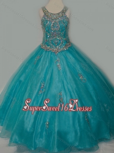 New Arrival Ball Gown Scoop Organza Long Lace Up Mini Quinceanera Dress with Beading