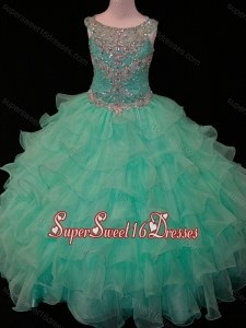 New Arrivals Mint Scoop Mini Quinceanera Dress with Beading and Ruffled Layers