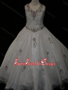 Pretty Ball Gown Beaded and Applique White Mini Quinceanera Dress in Organza