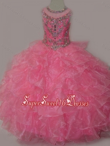 Rose Pink Ball Gown Scoop Beaded Bodice Lace Up Mini Quinceanera Dress