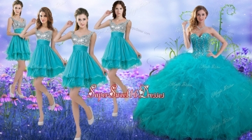 Wonderful Beaded and Ruffled Quinceanera Dress and Beautiful Straps Sequined Dama Dresses