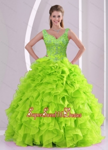 New Arrival and Detachable Beading and Ruffles Quince Dresses in Green for 2015