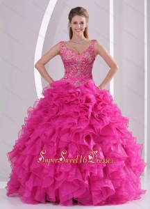 New Style and Detachable Hot Pink Quince Dresses with Beading and Ruffles for 2015