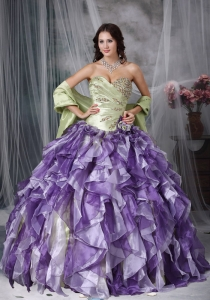 Colorful Ball Gown Sweetheart Floor-length Taffeta and Organza Beading and Ruffles Quinceanea Dress