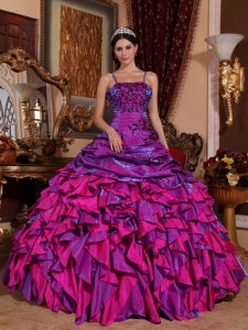 Discount Purple and Fuchsia Sweet 16 Dress Straps Satin Embroidery with Beading Ball Gown