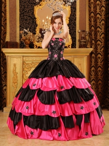 Inexpensive Black and Hot Pink Sweet 16 Dress Strapless Taffeta Beading Ball Gown