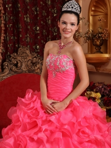 Ruffled Watermelon Sweet 16 Quinceanera Gown Beading And