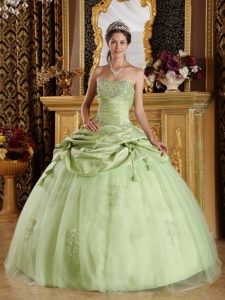 Luxurious Yellow Green Sweet 16 Dress Strapless Tulle and Taffeta Beading Ball Gown