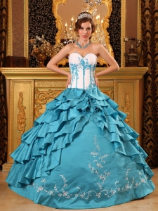 Popular Teal Sweet 16 Dress Sweetheart Ruffles And Embroidery Taffeta Ball Gown