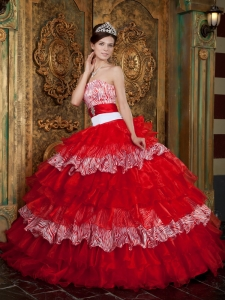 Pretty Red Sweet 16 Dress Strapless Organza and Zebra Ruffles Ball Gown
