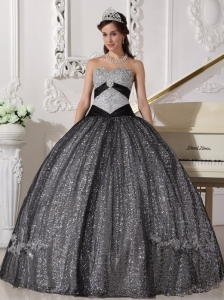 sequined and tulle appliques sweetheart black sweet 16