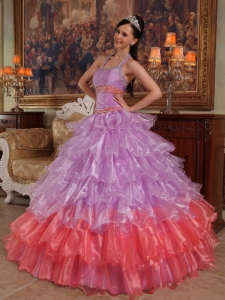 Discount Lavender Sweet 16 Quinceanera Dress Halter Organza Beading Ball Gown