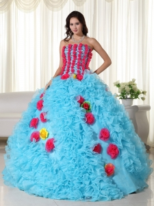Aqua Ball Gown Strapless Floor-length Organza Beading Sweet 16 Dress