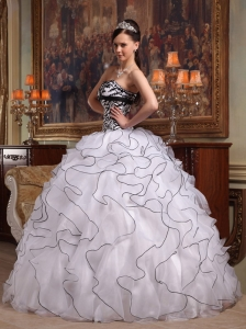 White And Black Sweet 16 Quinceanera Dress Strapless Tucks