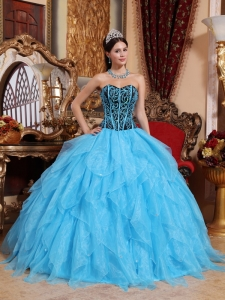Modest Aqua Blue Sweet 16 Dress Sweetheart Floor-length Organza Embroidery with Beading Ball Gown