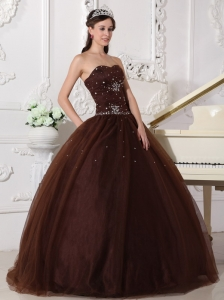 Modest Chocolate Sweet 16 Dress Sweetheart Tulle Rhinestones Ball Gown