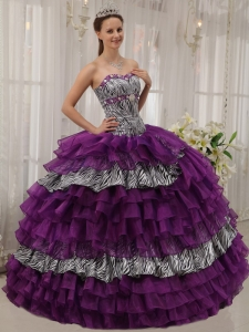 Spring Purple Organza Zebra Beading Sweet 16 Dress