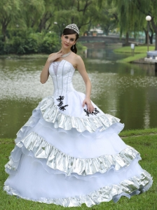 Ball Gown 2013 Sweet 16 Dress For Military Ball Appliques On Taffeta Organza Strapless