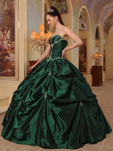 Sweet Sixteen Quinceanera Pick-ups Strapless Dark Green Beading