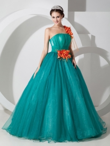 Custom Made Teal One Shoulder Sweet 16 Dress Organza Hand Made Flowers