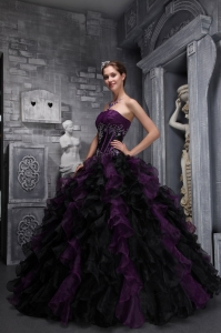 strapless ruffles appliques drak purple and black sweet 16